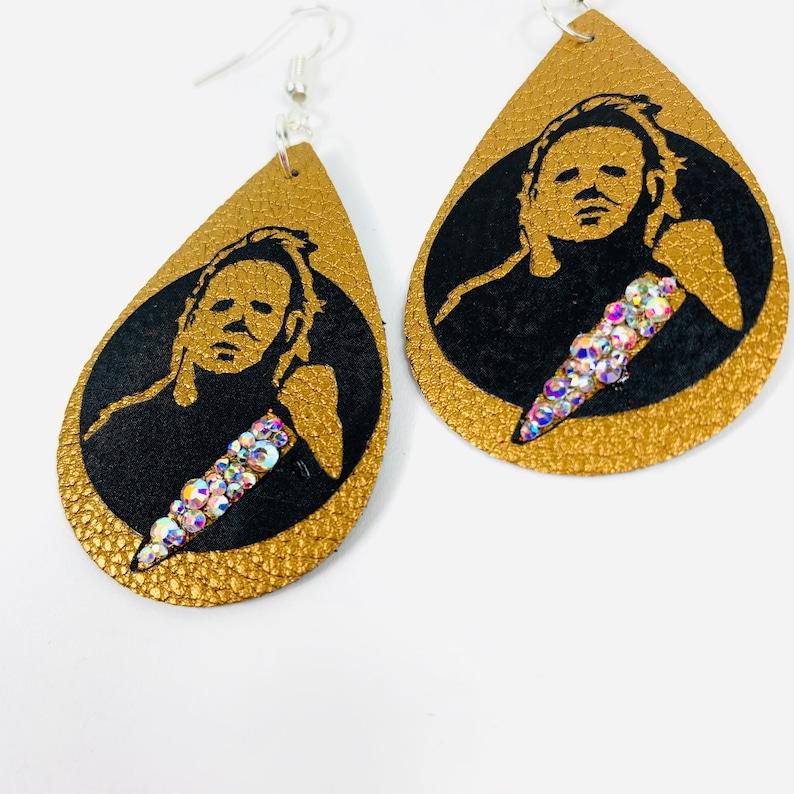 Michael Myers Earrings Halloween Horror Movie Jewelry Faux Leather /& Crystal AB Rhinestones USA Handmade
