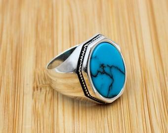 Turquoise Men's Ring, Handmade Ring, Turkish Handmade Silver Men Ring, Ottoman Ring, Men's Jewelry, Gift for Him, 925k Sterling Silver Ring