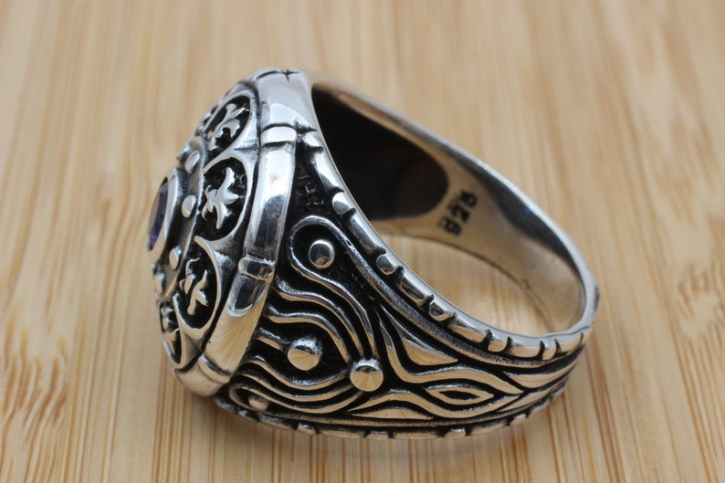 Gift for Him Men/'s Jewelry Ottoman Ring Turkish Handmade Silver Men Ring 925k Sterling Silver Ring Mens Handmade Ring Sapphire Ring