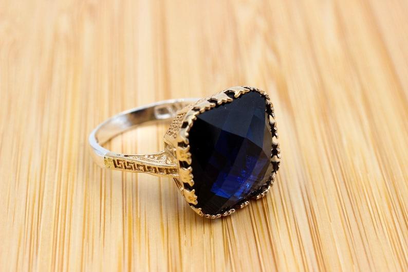 Ottoman Women Ring Handmade Women/'s Ring Ladies Ring Authentic Ring Turkish Handmade Ring 925k Sterling Silver Sapphire Topaz Ring