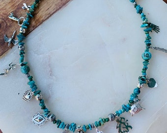 SOLD! Turquoise and Sterling Silver Charm Necklace