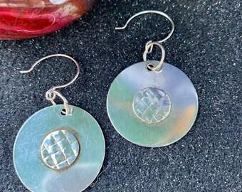 SOLD! Tailored Sterling Silver Shield Earrings