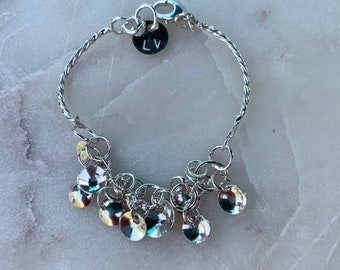 Sterling Silver Bracelet with Twisted Wire Disc Charms