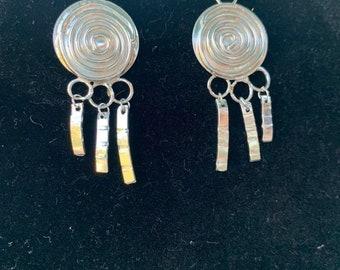Sterling Silver Spiral Shield Earrings