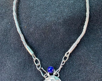 Nordic Goddess Pendant on Torced Choker with Faceted Lapis