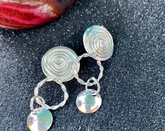 Scandinavian Pierced Spiral Earring with Twisted Circle and Hanging Disc