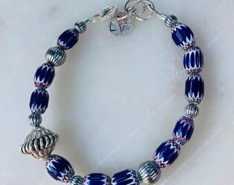 Chevron Tribal and Sterling Silver Beaded Bracelet