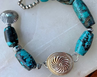 Southwestern Turquoise and Sterling Silver Bracelet