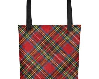 Red Tartan Plaid Tote Bag