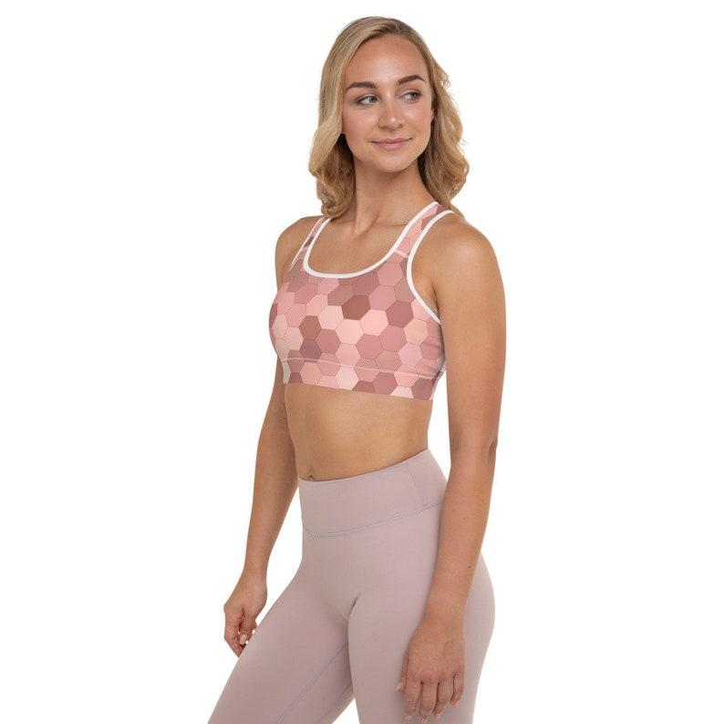 Pink Geometric Padded Sports Bra