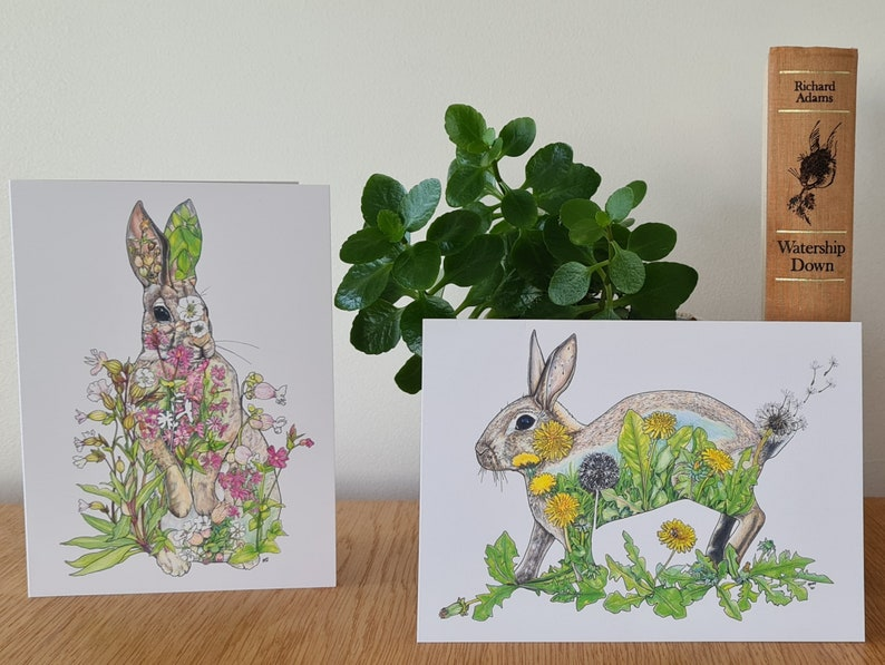 Six rabbit notecards Mother's Day Easter cards blank image 0
