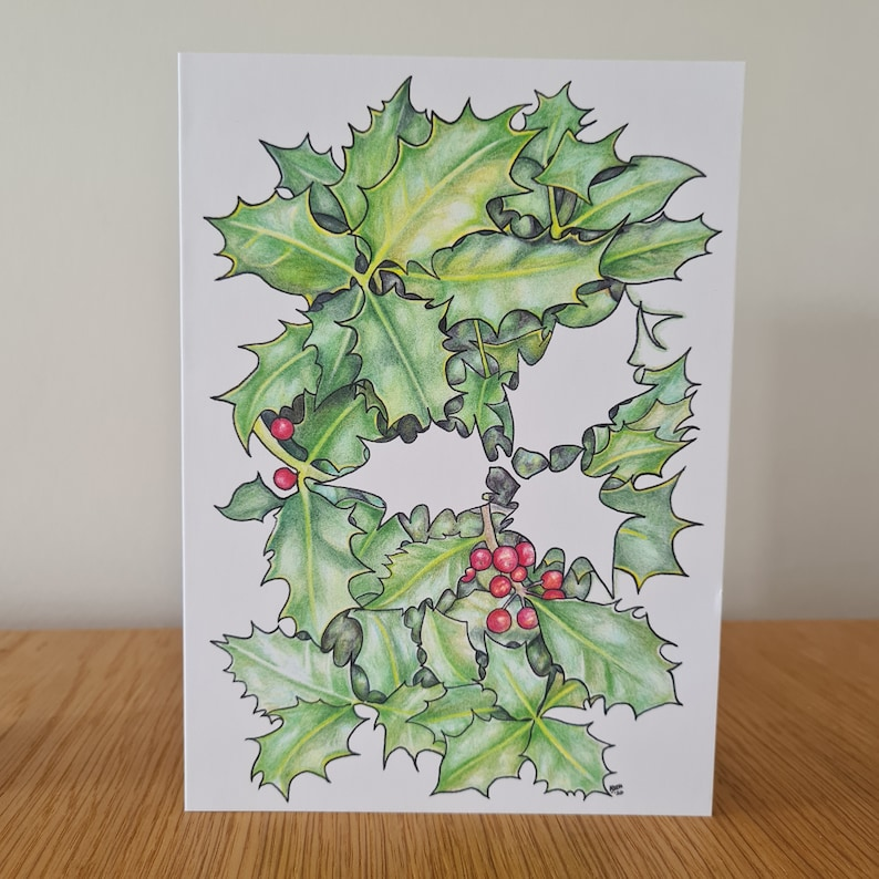 blank inside 5 x 7 Set of six Holly /& Ivy Cards YuleWinter SolsticeChristmas card set