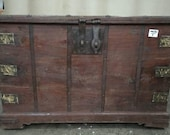 Large Antique Vintage Wooden Dowry Chest Trunk Wooden Blanket Box.