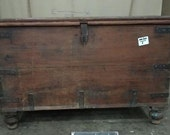 Large Antique Vintage Wooden Dowry Chest Trunk Wooden Blanket Box