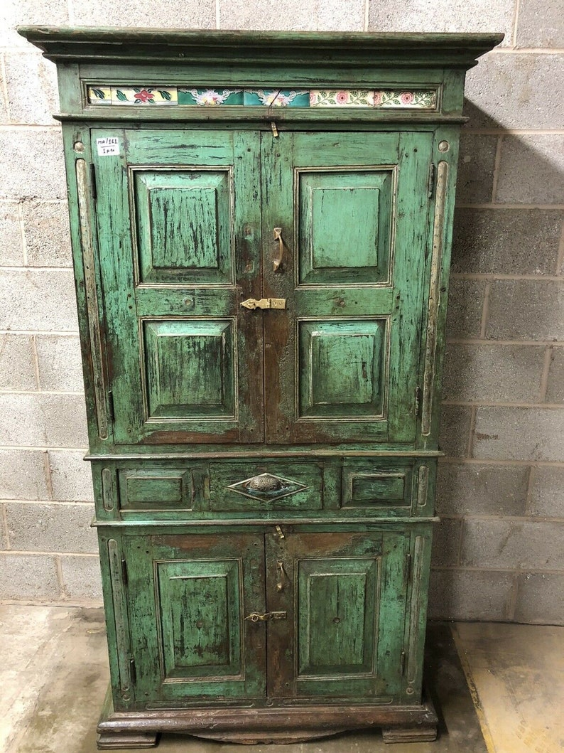 Antique vintage Wooden Indian Almirah cabinet with ...