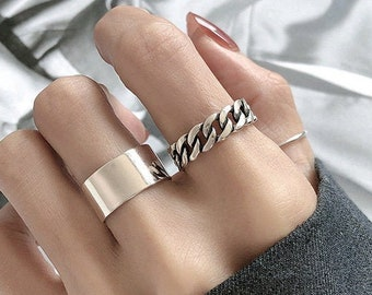 Silver Thick Band Ring, Band Ring, Chunky Ring, Wide Band Ring, Polish Ring, Chain Ring, Cuban Ring, Y2K Ring, Streetwear Ring, Open Ring