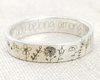 Wildflower Ring, Silver Flowers Ring, Floral Ring, Friendship Ring, Daisy Ring, Dainty Ring, Silver Band Ring, Craved Ring, Creative Ring