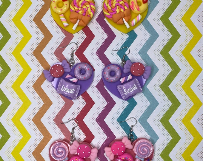 Featured listing image: Candy Donut Heart Earrings