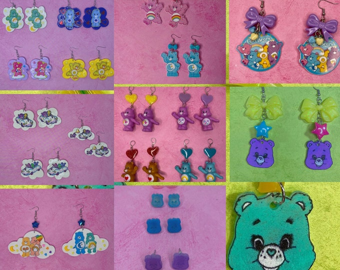 Featured listing image: 5 pairs Mystery Earrings Box Care Bear Themed