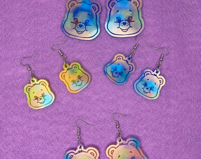 Featured listing image: Care Bear Inspired Rainbow Earrings