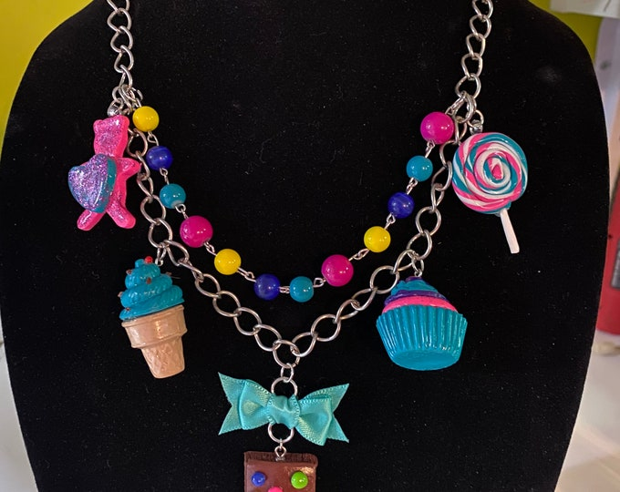 Featured listing image: Rainbow Neon Candy Cupcake Cosmic Brownie Statement Necklace