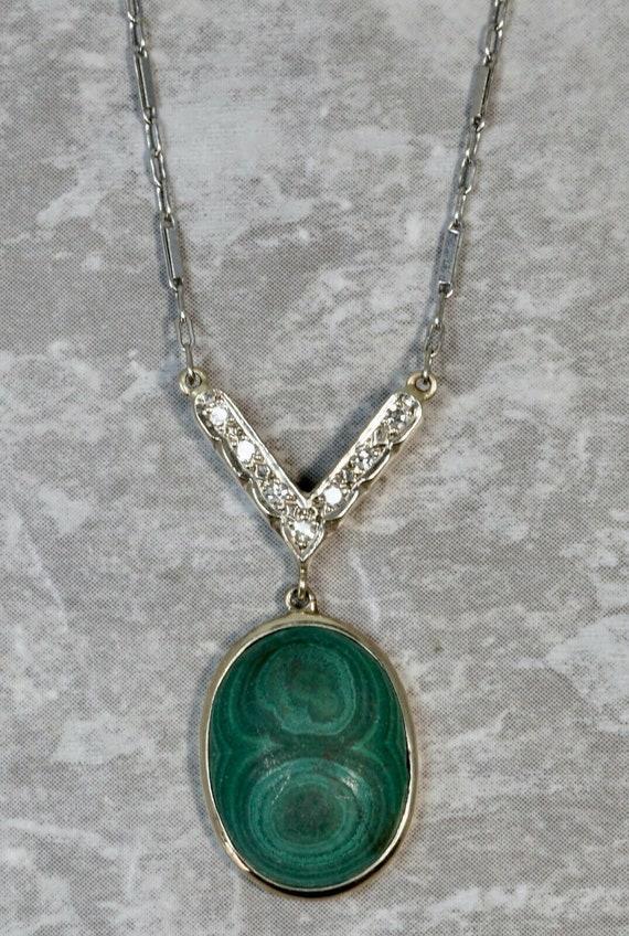 Antique 14K White Gold Diamond Malachite Drop Pend