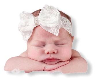 newborn pink headband for baptism hairband with rhinestone cross Baby lace tiara christening