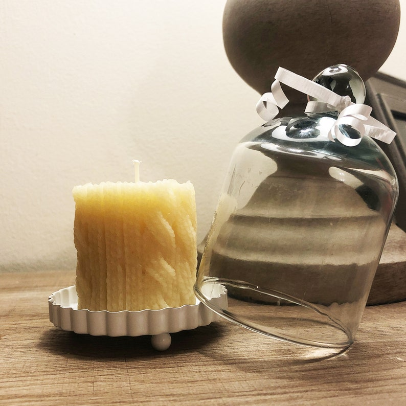 Scented beeswax candle in glass bell jar wedding favors mom room decor Pretty Pillar candle for birthday gifts for friend