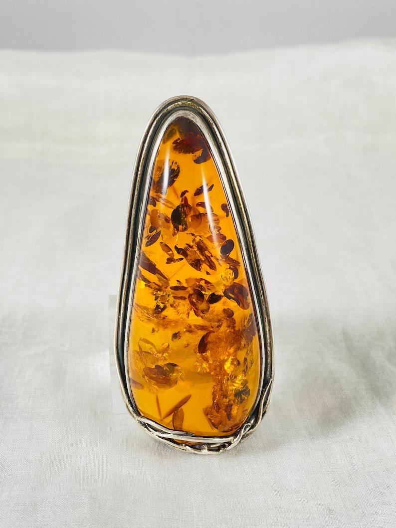 Vintage Rare Large Signed Sterling Silver Natural Amber Pendant /& Brooch