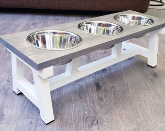 3 Sizes Fully Stained Farmhouse Style Dog Bowl Stand With Larger Middle Bowl