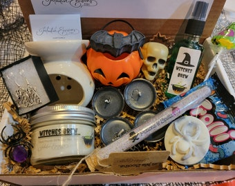 WITCHES BREW Halloween Kit -  Custom- Choose Your Scent - Candle Bath Salts Gift Set Spa Self Care