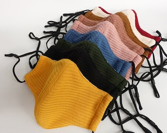Sweater Mask | Fabric Face Mask w/ Removable Nose Wire | Filter Pocket  | Adjustable Ear Loops | Winter Mask.