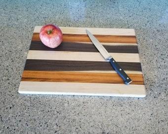 Handmade Maple, Walnut, Tigerwood, and Canarywood Wood Cutting Board *FREE SHIPPING*