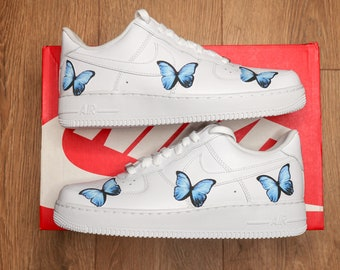 Butterfly TEAL BLUE 3M Heat Transfer Decal Only Stickers - Custom Butterfly Heat Transfers for Shoes - Air Force 1 Butterfly Stickers