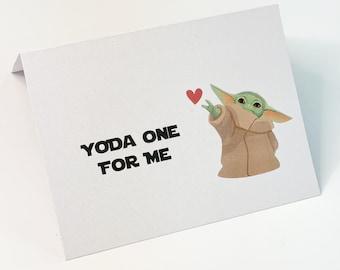 Girlfriend card. Birthday card Friendship card Boyfriend card Star Wars card Yoda One For Me