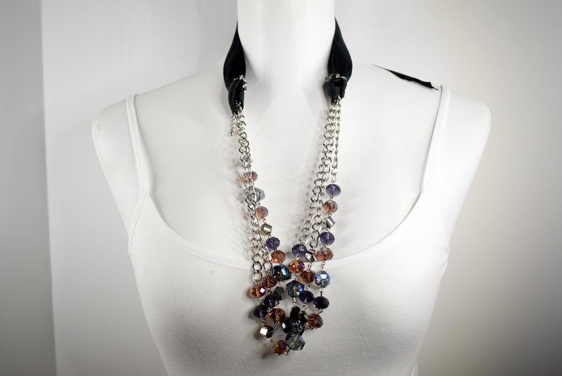 multy colored Crystal necklace in silver long chain and black ribbon