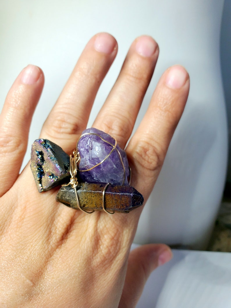 statement jewelry Amethyst druzy drusy and crystal point ring large fashion gold ring beautiful jewelry 14k Gold filled gemstone ring