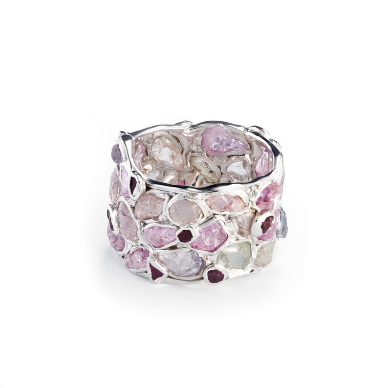 Handcrafted 925 Sterling Silver Alcina Ruby Spinel Barrel Ring with All White Rhodium Plating by German Kabirski