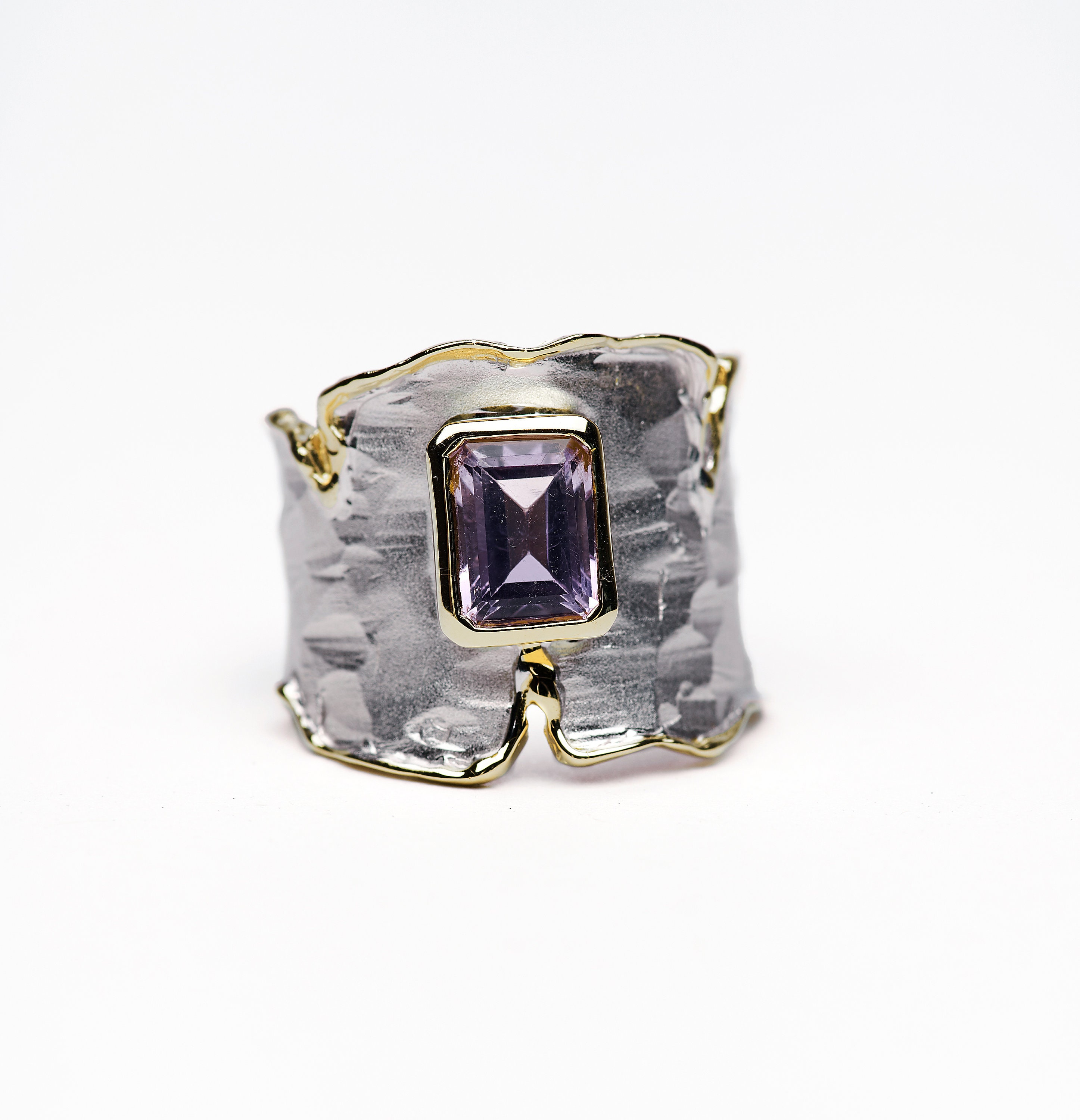 Raw Stone Jewelry US size 6 crystal ring with Raw  amethyst plated silver and white rhodium