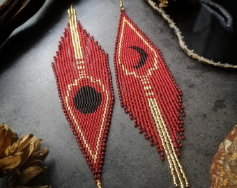 Beaded Moon Fringe Earrings