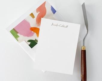 Transatlantic Custom Flat Note Card Set EMPIRE Modern Letterpress Stationery Set