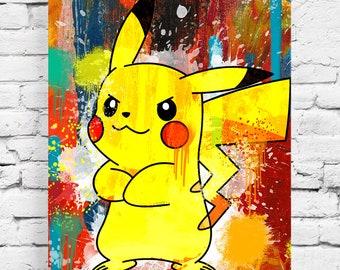 Pikachu street art painting