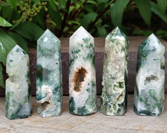 AAA Natural Moss Agate Tower,Moss Agate Point,Agate Point Crystal,Polished Moss Agate Point,Moss Agate Wand,Chakra Tower Point,2.5-3.5 In