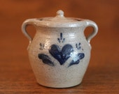 RARE Rowe Pottery Works Miniature Two-Handled Stoneware Cookie Jar