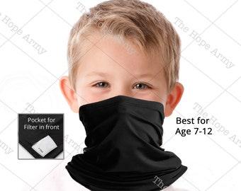 Zilosconcy Kids Adjustable Drawstring Neck Face Cover Scarf Boys Sun Protection Outdoors Neck Gaiter Headband Boy Girl Balaclava Outdoors Dustproof Lightweight