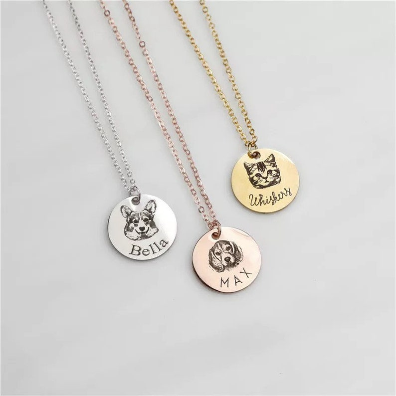Cat Dog Necklace Personalized Pet Necklace with Picture Custom Pet Necklace Pet Gift Pet Memorial Gift