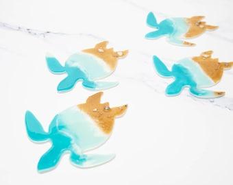 Sea turtle resin coasters, resin ocean art, ocean art work, ocean wave art