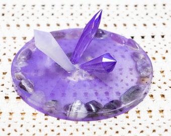 Quartz ring tray - jewelry dish - trinket dish, engagement ring dish
