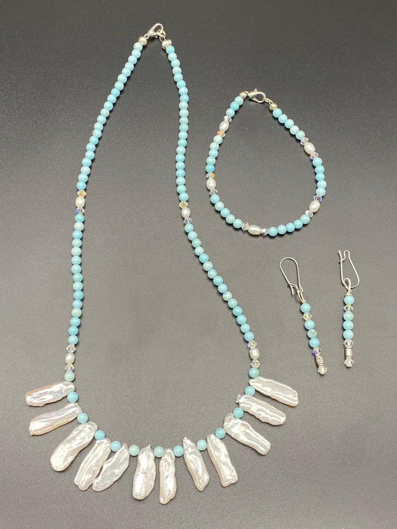 Baby Blue Turquoise and freshwater Pearl necklace earring and bracelet set