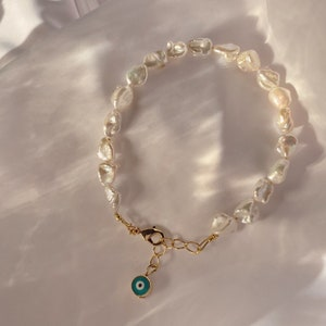 - Evil Eye 7-8.5 inch wRolo Link Chain /& Lobster Claw Clasp Sterling Silver .925 Adjustable - Pearl Bracelet